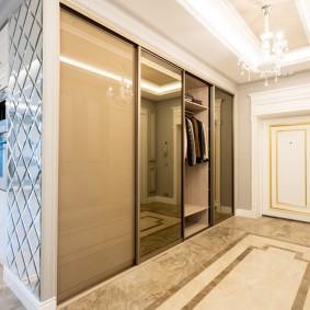 Стеклянные дверцы на встроенном шкафу