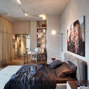 Оригинальный дизайн потолка в спальне
