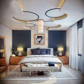 Ниши из гипсокартона на потолке спальни