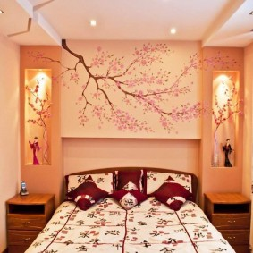 Декоративные ниши в спальне восточного стиля