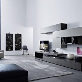 Серая мебель в зале современного стиля
