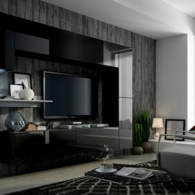 Темная мебель в дизайне зала