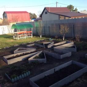 Ухоженный огород с геометрическими грядками