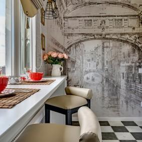 Фотообои на стене кухни небольшой площади