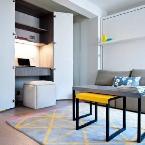 Удобная мебель в однокомнатной квартире