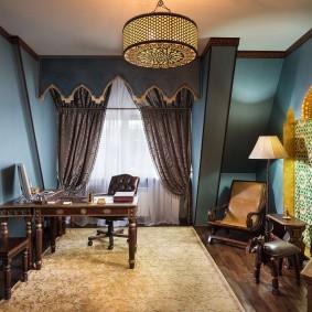 Интерьер домашнего кабинета в восточном стиле