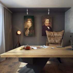 Вместительный стол в кабинете стиля минимализма