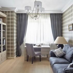 Интерьер домашнего кабинета с диваном