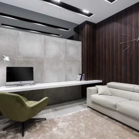 Серые стены в кабинете без окон
