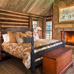 Интерьер спальной комнаты в стиле шале