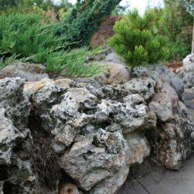 Пористые камни на альпийской горке