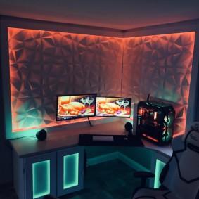 Подсветка тумб в столе геймера