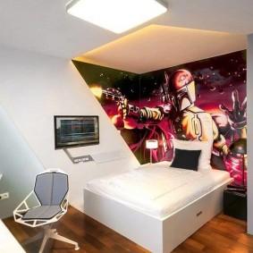 Фотообои на тему компьютерных игр в спальне подростка