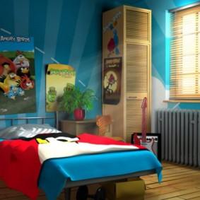 Спальня школьника с синими стенами