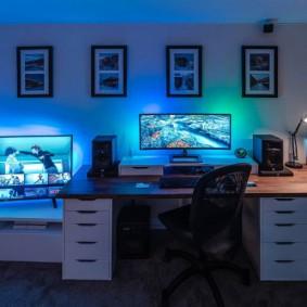 Комната геймера с низким потолком