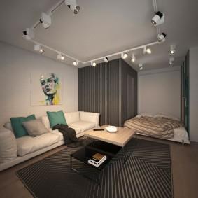 Освещение комнаты светильниками на потолке