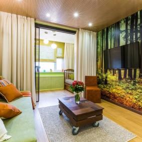 Фотообои в комнате с удобным диваном