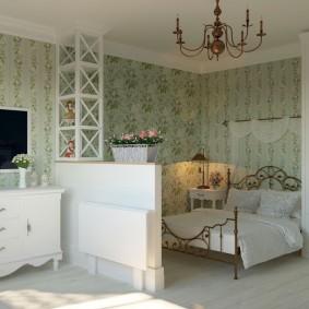 Спальное место в комнате прованского стиля