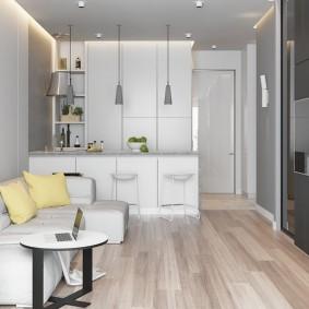 Кухня-гостиная в современной квартире