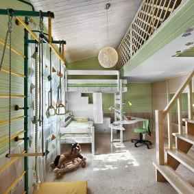 Шведская стенка в детской спальне