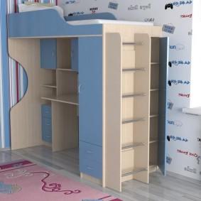 Корпусная кровать-чердак из недорого материала