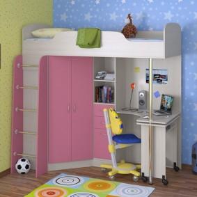 Кровать-чердак с угловым шкафчиком внизу