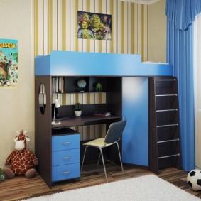 Синие фасады на мебели для мальчика