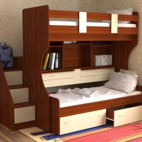 Выдвижные ящики для белью внизу детской кровати