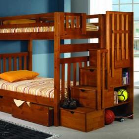 Ящики для игрушек в ступенях двухъярусной кровати