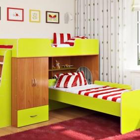 Детская кровать с угловым расположением спальных мест