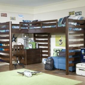 Кровать-чердак с двумя спальными местами наверху