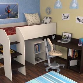 Поворотный стол в комплекте с кроватью