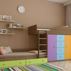 Шкафы и ящики в двухэтажной кровати