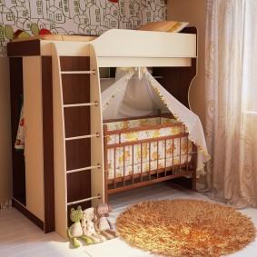 Шкаф для детской одежды в торцевой части кровати