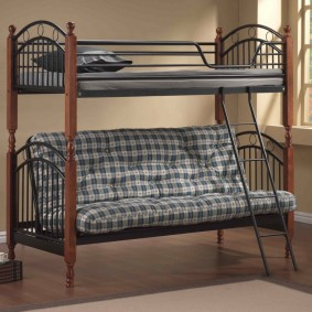 Раскладной диван-книжка в нижней части двухъярусной кровати
