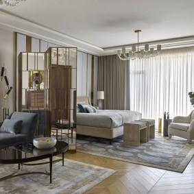 Зонирование коврами спальни-гостиной