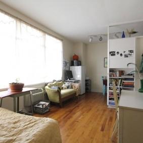Узкая комната с диваном и кроватью