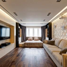 3D-обои в интерьере спальни-гостиной