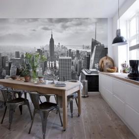 Фотопечать на кухонных обоях в квартире-студии