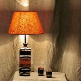 Тканевый абажур на настольной лампе