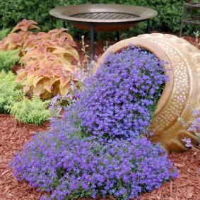 Садовая клумба из старого кувшина
