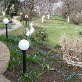 Садовые фонарики с круглыми плафонами
