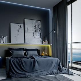 Панорамное окно в мужской спальне