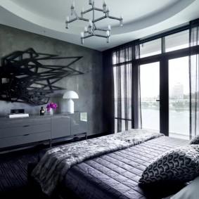 Серый интерьер спальной комнаты