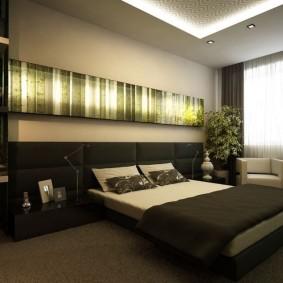 Двухуровневый потолок в просторной спальне