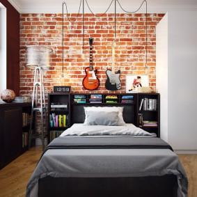 Кирпичная отделка в интерьере спальни