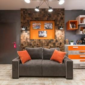 Дизайн комнаты подростка с нишей за диваном