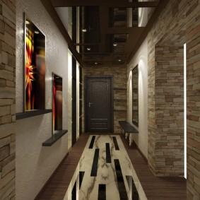 Дизайн стильного коридора в темной цветовой палитре