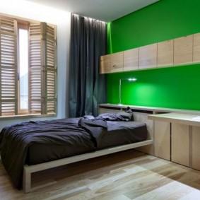 Зеленая стена в комнате школьницы