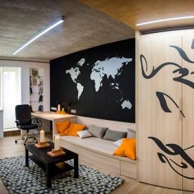Линейное расположение мебели в комнате подростка